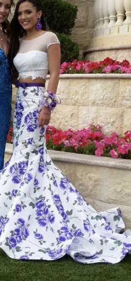 Sherri Hill Multicolor Size 0 Floral Short Height Purple Mermaid Dress on Queenly