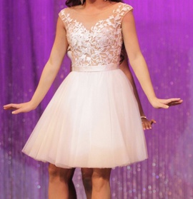 Sherri Hill White Size 2 Light Pink Sheer Cocktail Dress on Queenly