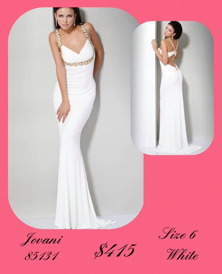 Jovani White Size 6 Plunge Tall Height A-line Dress on Queenly