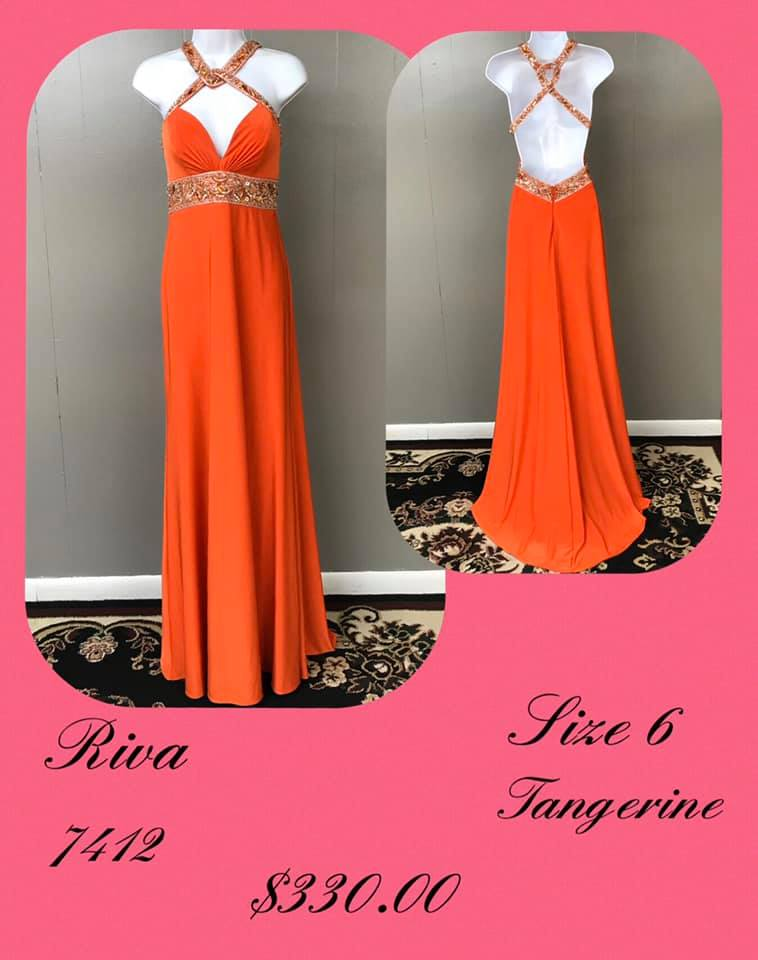 Queenly size 6 Riva Orange A-line evening gown/formal dress