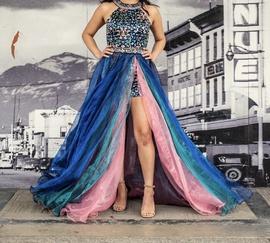 Sherri Hill Multicolor Size 4 Mini Halter Train Dress on Queenly
