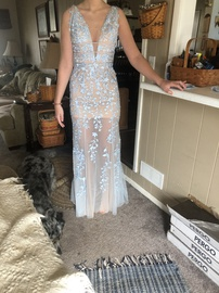 Sherri Hill Nude Size 4 Backless Lace Straight Dress on Queenly