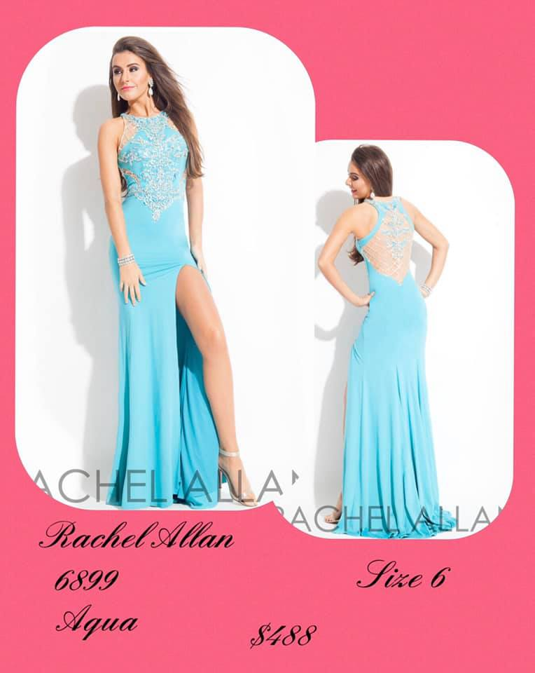 Queenly size 6 Rachel Allan Blue Side slit evening gown/formal dress