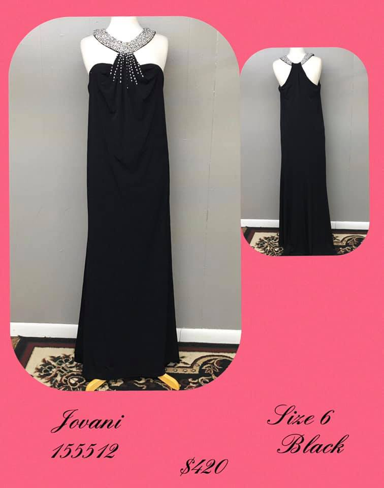 Jovani Black Size 6 Halter Tall Height A-line Dress on Queenly