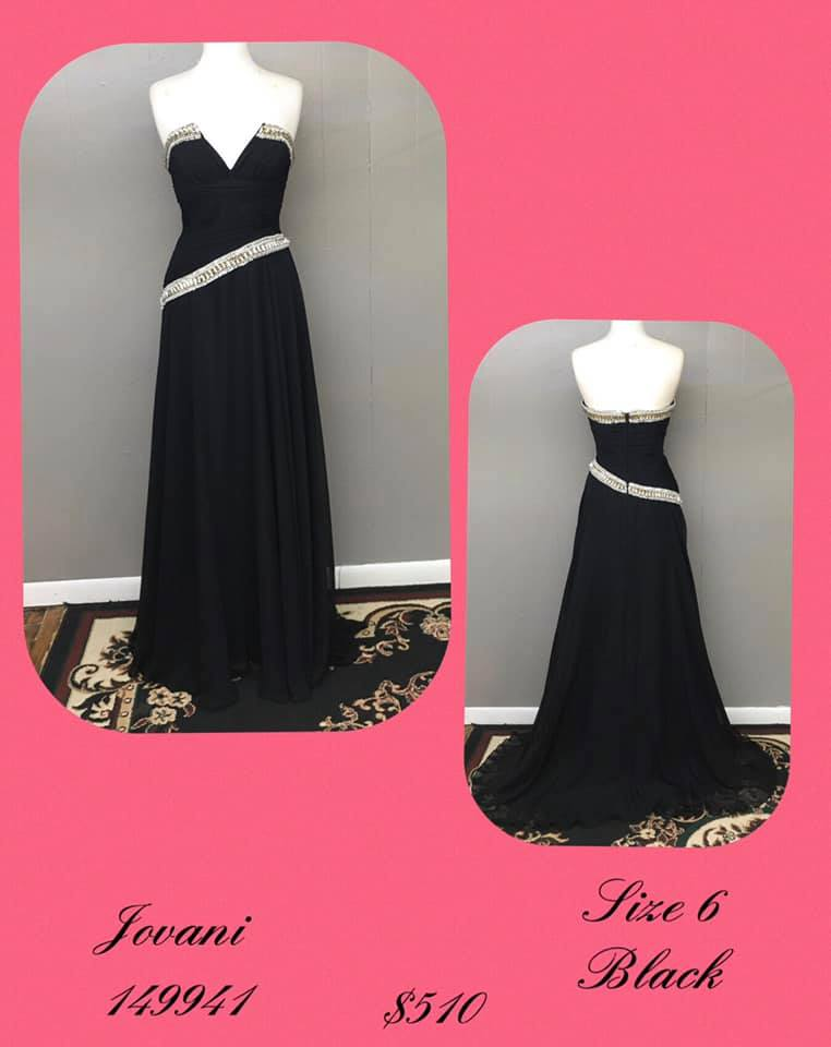 Jovani Black Size 6 Jewelled Tall Height A-line Dress on Queenly