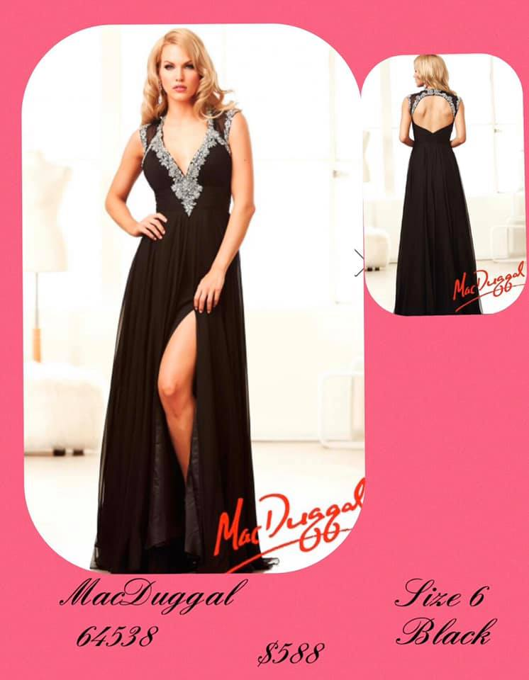 Queenly size 6 Mac Duggal Black Side slit evening gown/formal dress