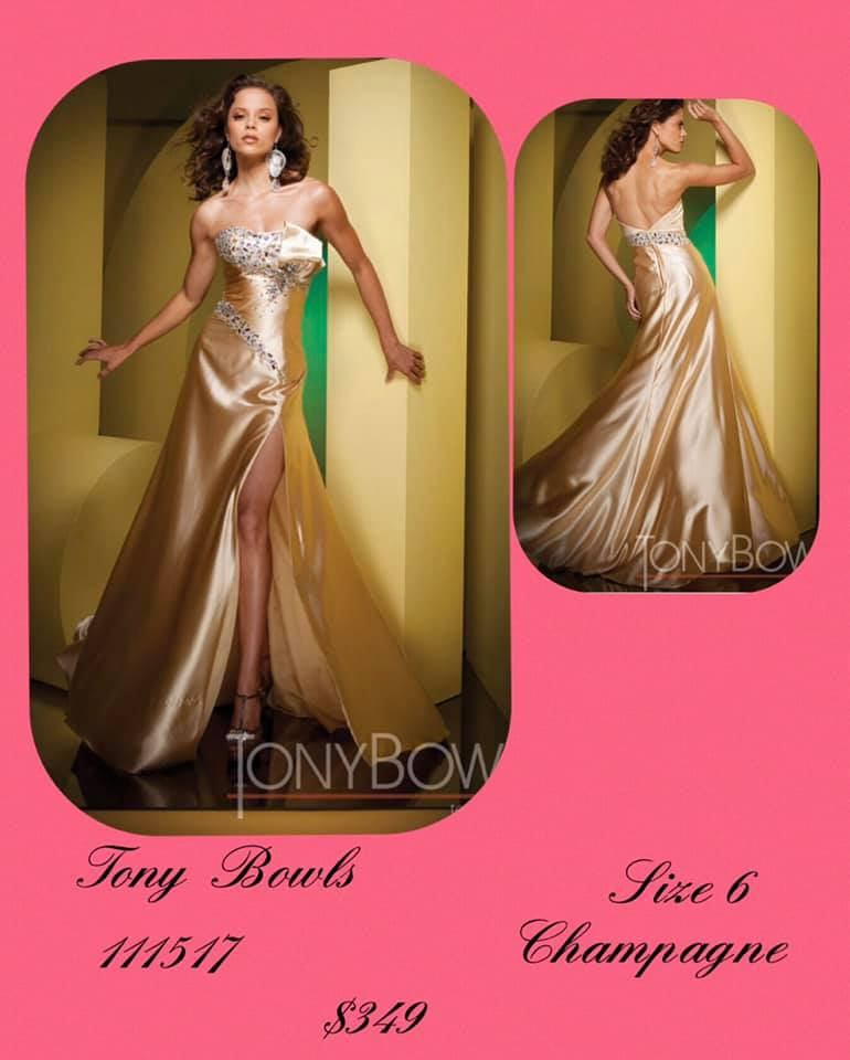 Queenly size 6 Tony Bowls Gold Side slit evening gown/formal dress