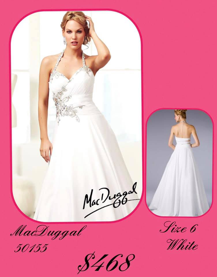 Queenly size 6 Mac Duggal White A-line evening gown/formal dress