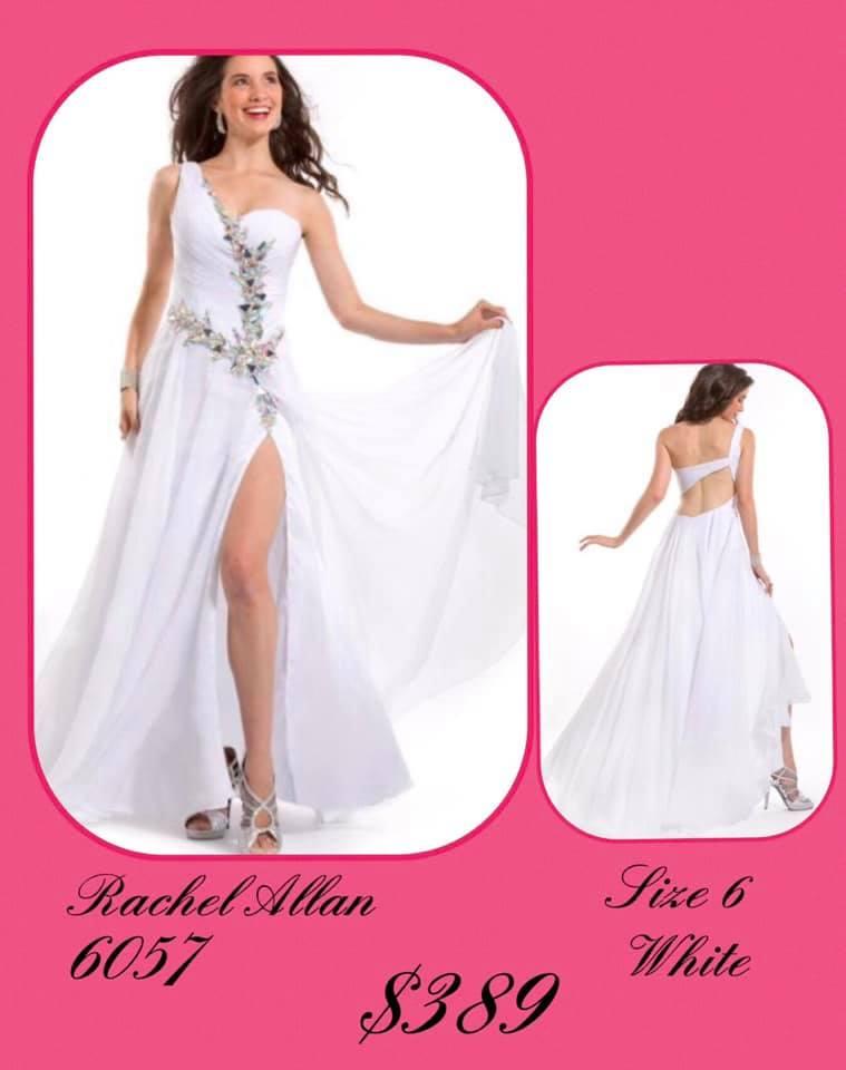 Queenly size 6 Rachel Allan White Side slit evening gown/formal dress