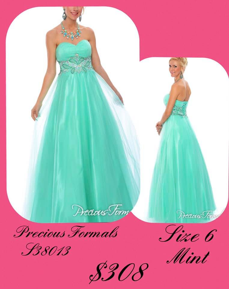 Queenly size 6 Precious Formals Green A-line evening gown/formal dress