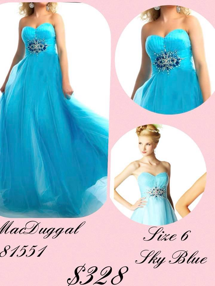 Queenly size 6 Mac Duggal Blue A-line evening gown/formal dress