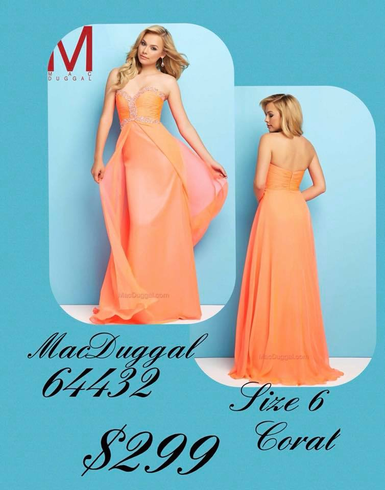 Queenly size 6 Mac Duggal Orange A-line evening gown/formal dress