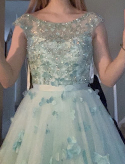 Style 53684 Sherri Hill Light Blue Size 0 Floral A-line Dress on Queenly