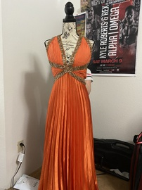 Dave & Johnny Orange Size 12 Cut Out Plunge Plus Size Ball gown on Queenly