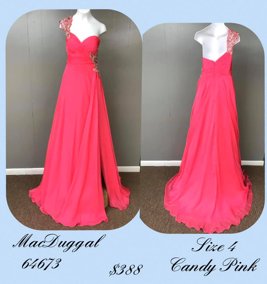 Queenly size 4 Mac Duggal Pink Side slit evening gown/formal dress