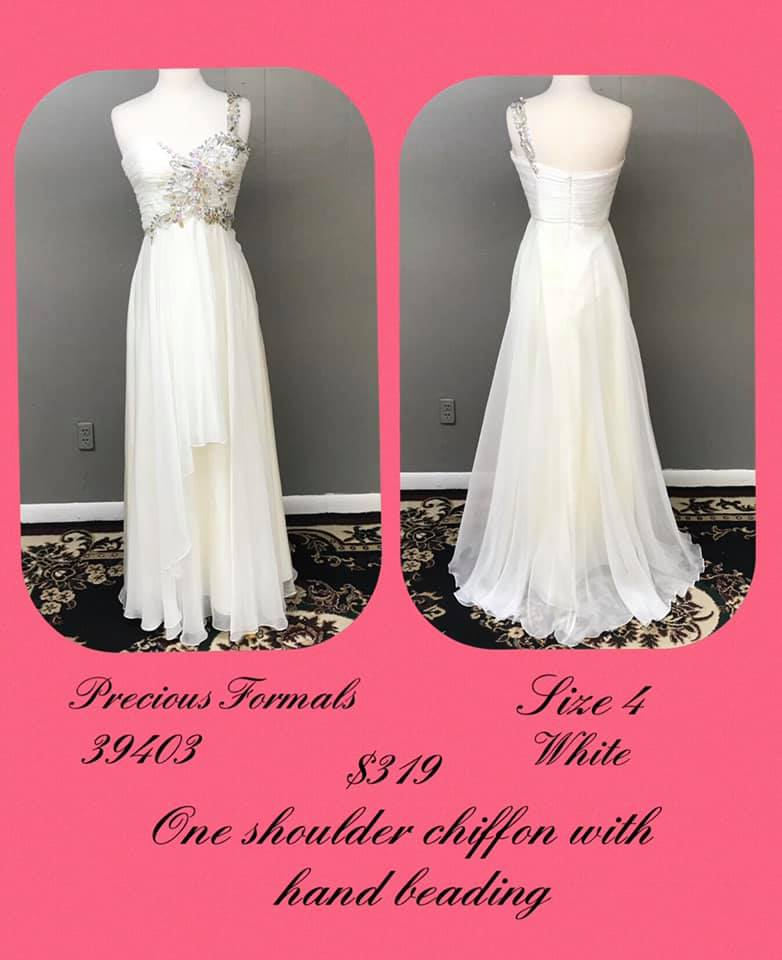 Queenly size 4 Precious Formals White A-line evening gown/formal dress