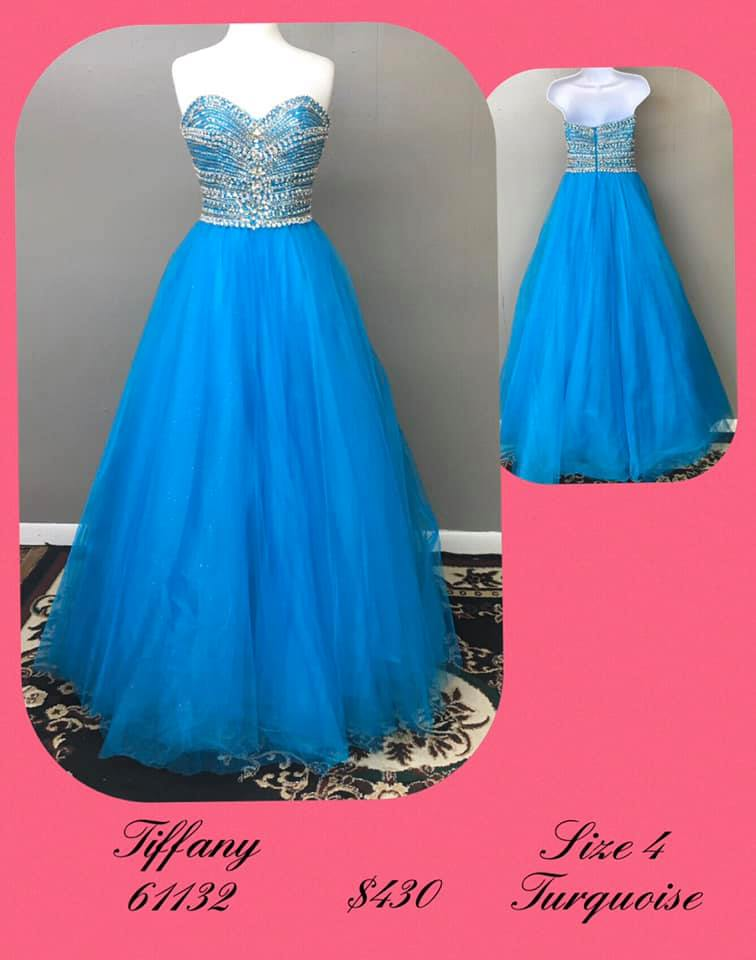 Queenly size 4 Tiffany Designs Blue A-line evening gown/formal dress