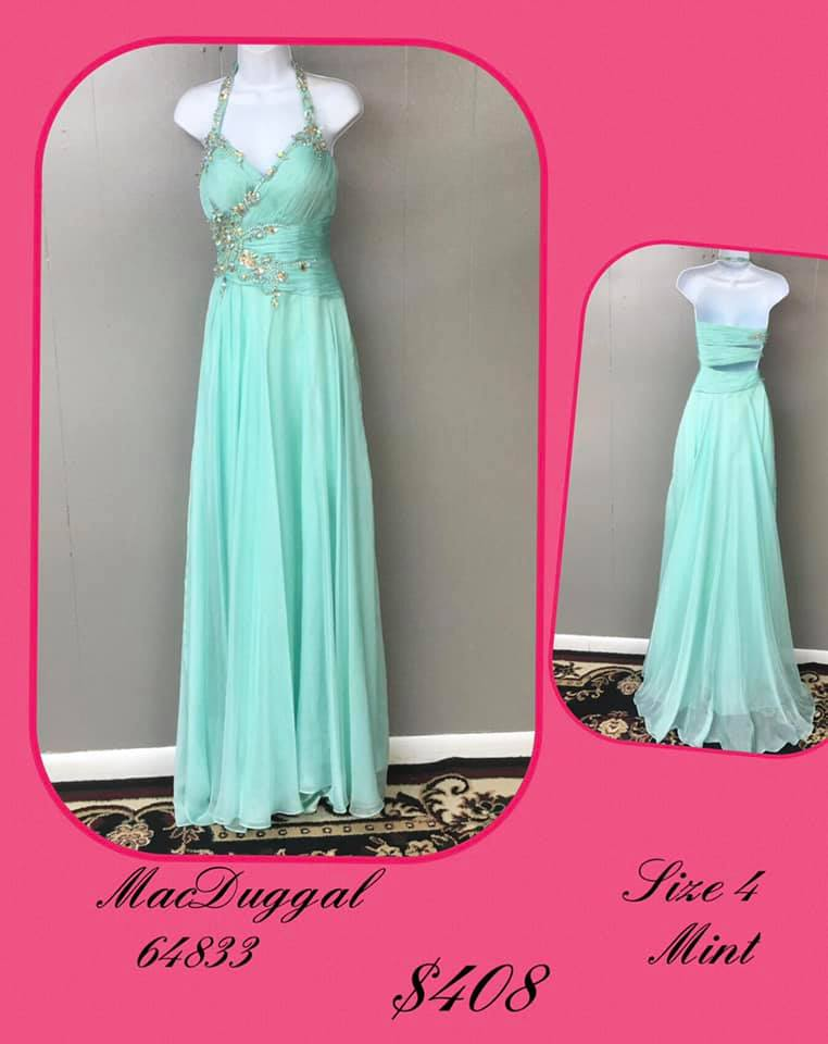 Queenly size 4 Mac Duggal Green A-line evening gown/formal dress