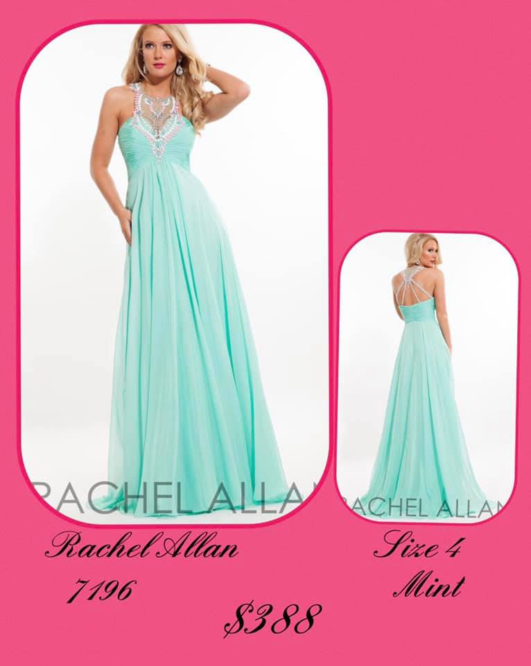 Queenly size 4 Rachel Allan Green A-line evening gown/formal dress