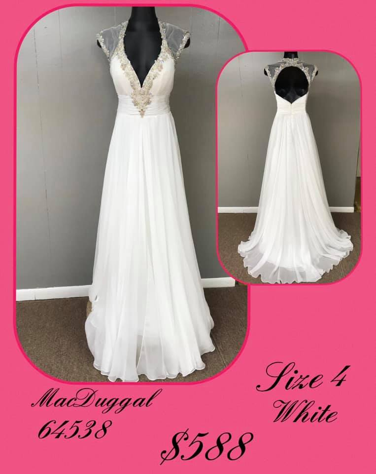 Queenly size 4 Mac Duggal White A-line evening gown/formal dress
