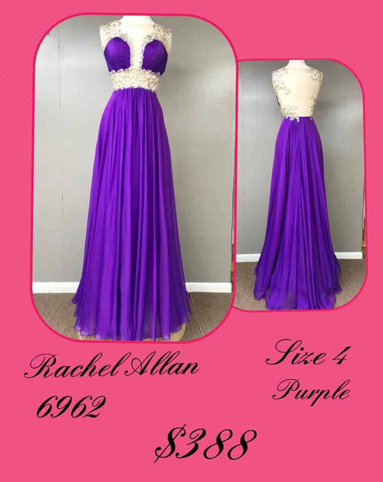 Queenly size 4 Rachel Allan Purple A-line evening gown/formal dress