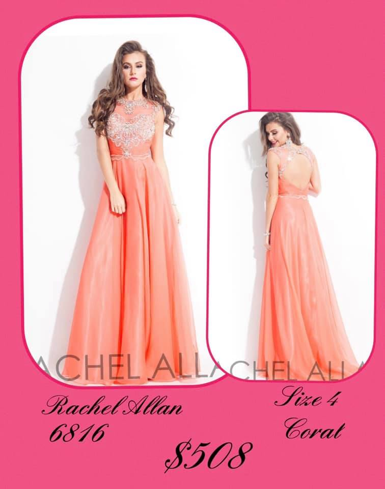 Queenly size 4 Rachel Allan Orange A-line evening gown/formal dress
