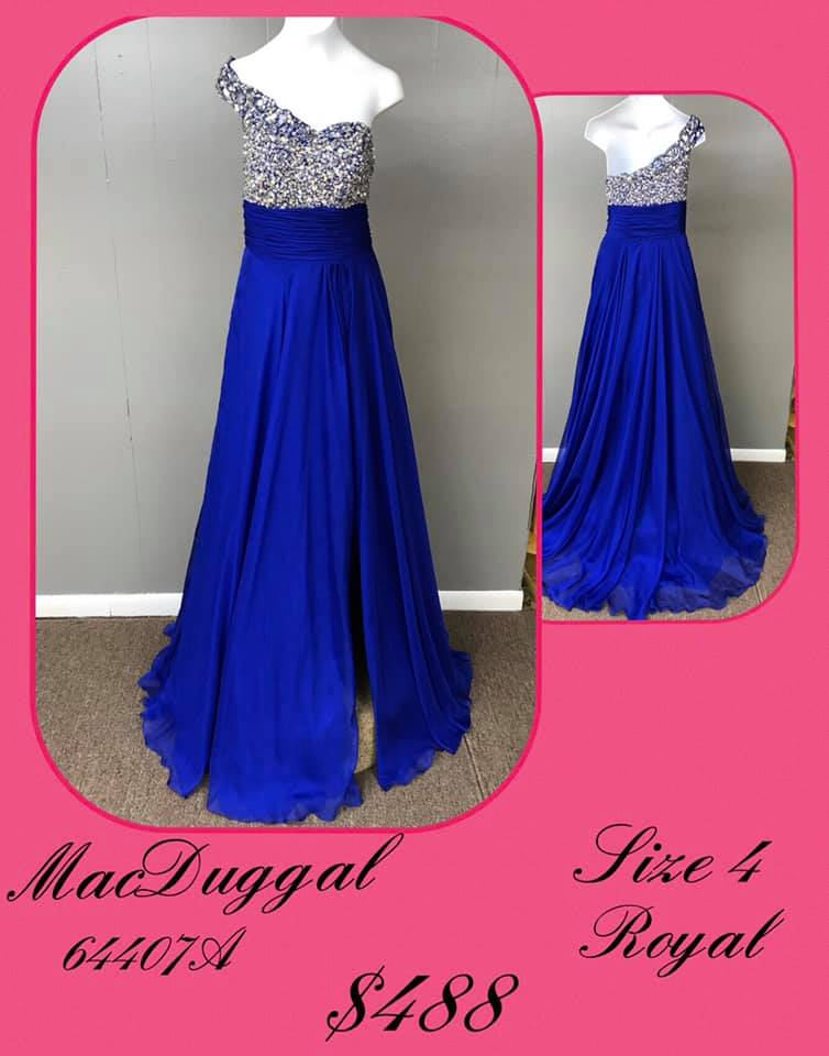 Queenly size 4 Mac Duggal Blue A-line evening gown/formal dress