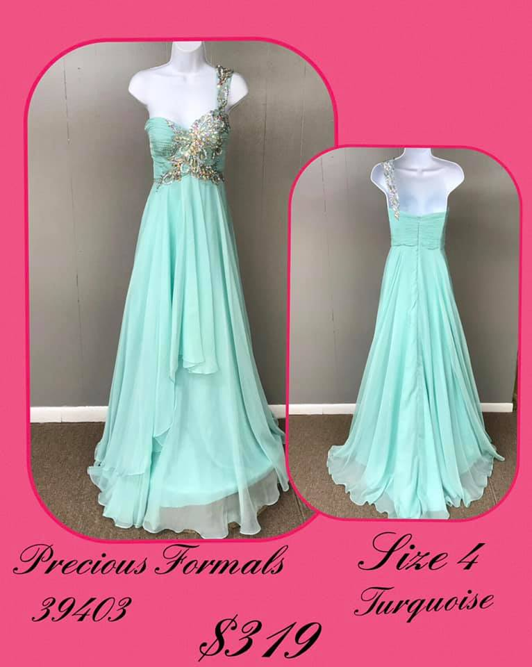 Queenly size 4 Precious Formals Green A-line evening gown/formal dress
