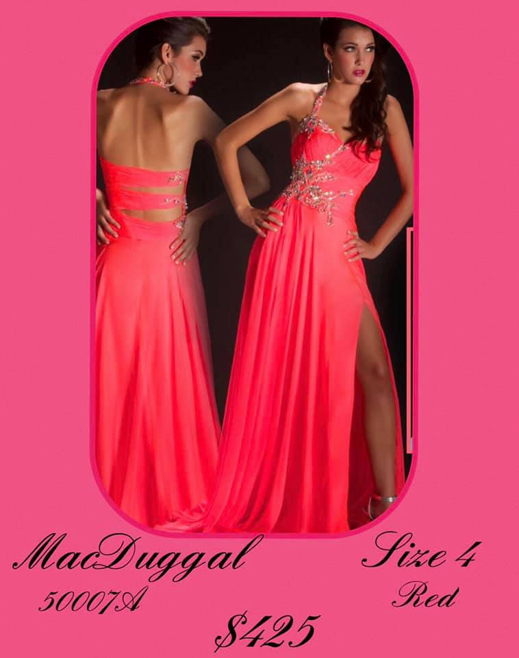 Queenly size 4 Mac Duggal Red Side slit evening gown/formal dress