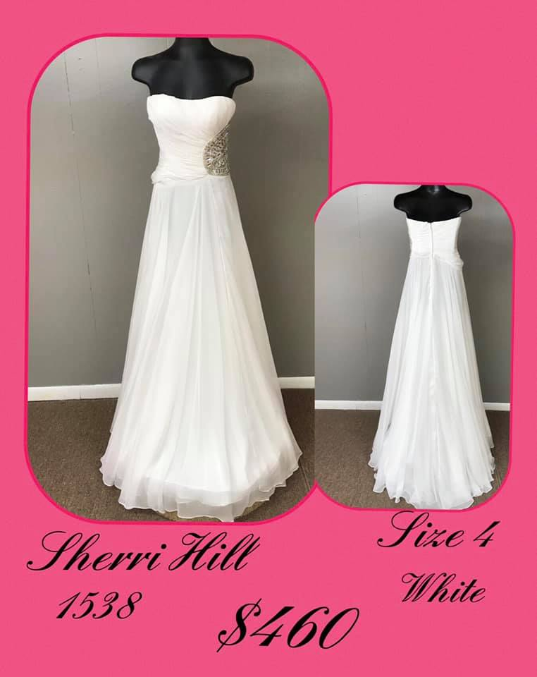 Queenly size 4 Sherri Hill White A-line evening gown/formal dress