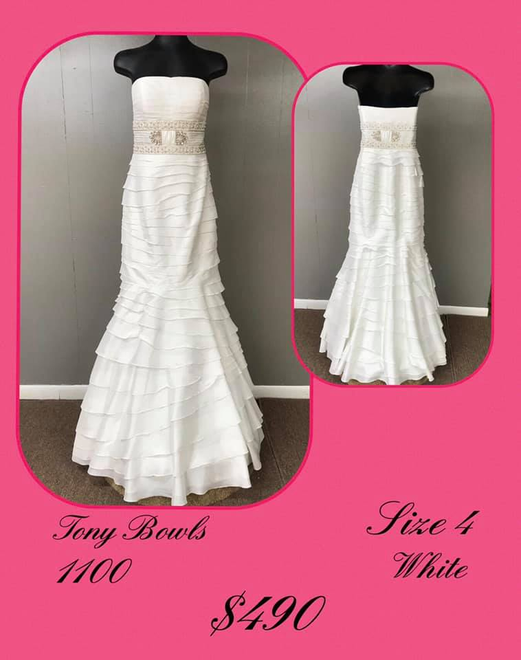 Queenly size 4 Tony Bowls White Mermaid evening gown/formal dress