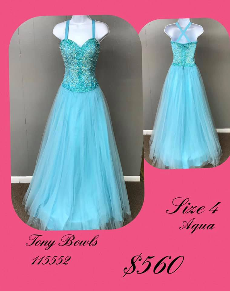 Queenly size 4 Tony Bowls Blue A-line evening gown/formal dress
