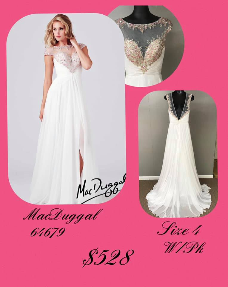 Queenly size 4 Mac Duggal White Side slit evening gown/formal dress