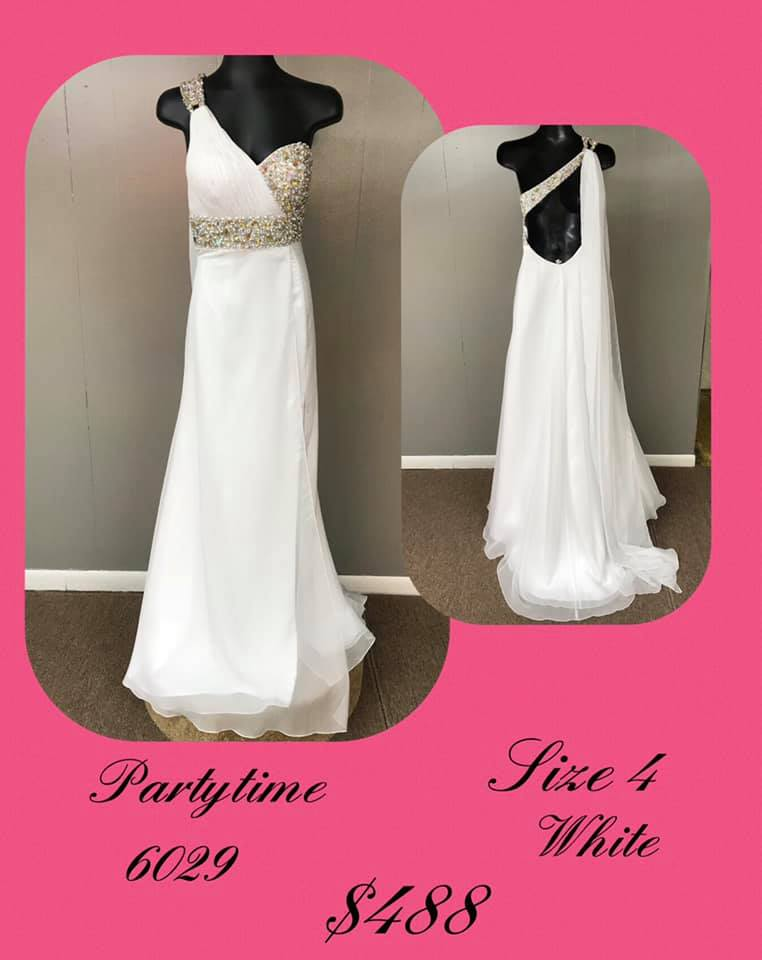 Queenly size 4 Party Time Formals White A-line evening gown/formal dress