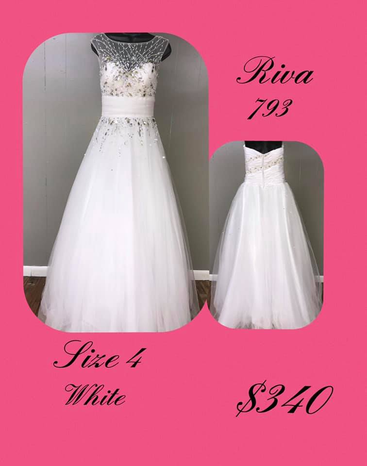 Queenly size 4 Riva White A-line evening gown/formal dress