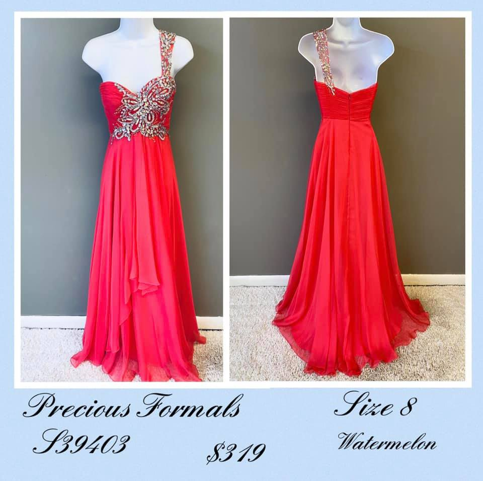 Queenly size 8 Precious Formals Red A-line evening gown/formal dress