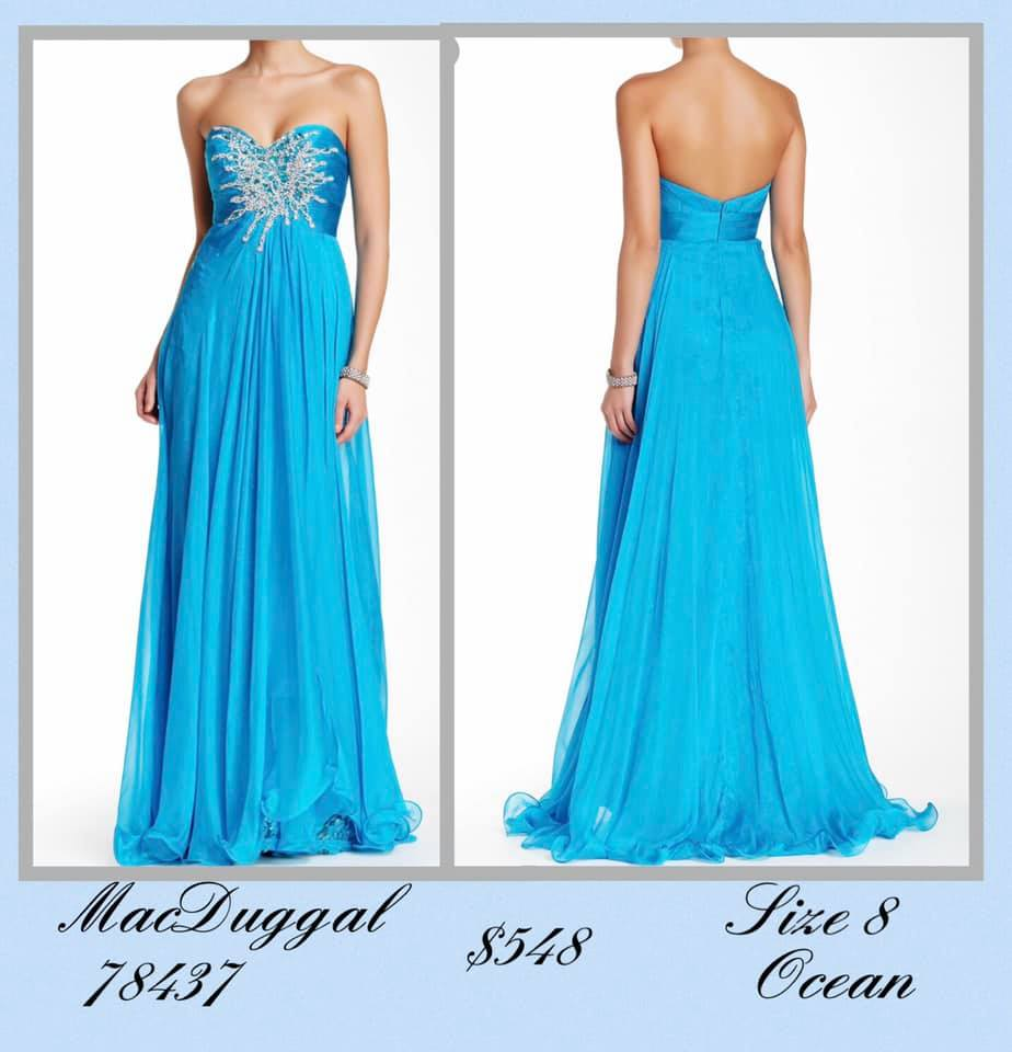 Queenly size 8 Mac Duggal Blue A-line evening gown/formal dress