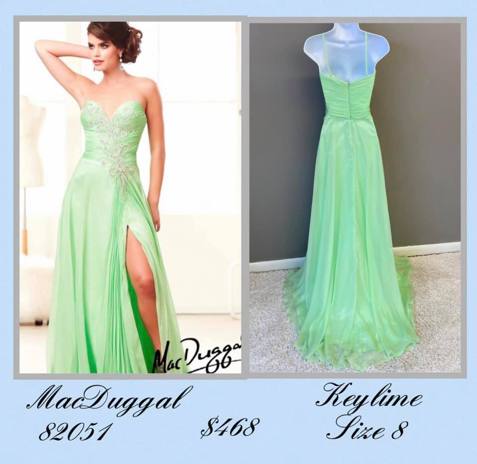 Queenly size 8 Mac Duggal Green A-line evening gown/formal dress