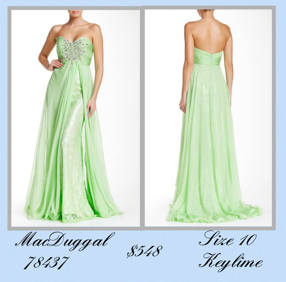 Queenly size 10 Mac Duggal Green A-line evening gown/formal dress