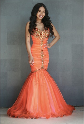 Orange Size 0 Mermaid Dress on Queenly