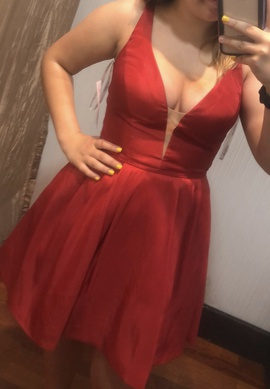 Sherri Hill Red Size 8 Plunge Cocktail Dress on Queenly