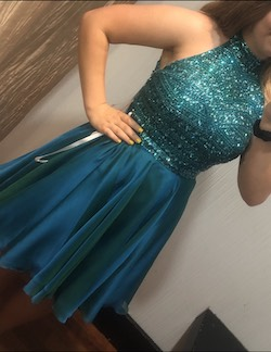 Sherri Hill Blue Size 8 Flare Halter Two Piece Shiny Cocktail Dress on Queenly