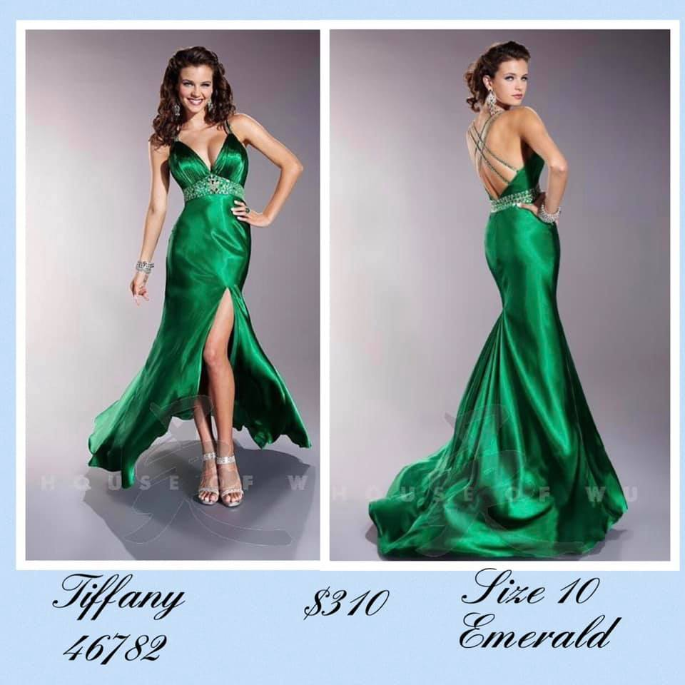 Tiffany Designs Green Size 10 Halter Backless Tall Height Side slit Dress on Queenly