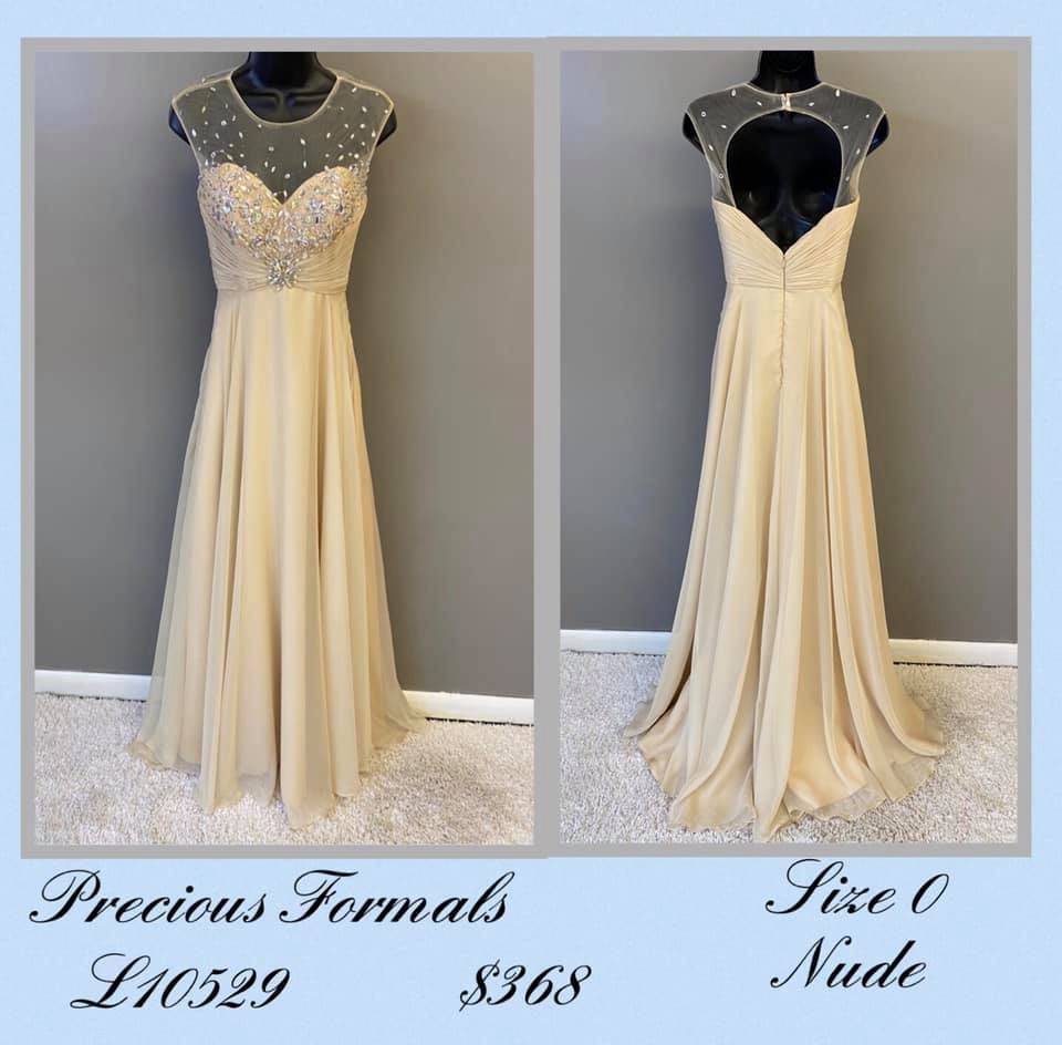 Queenly size 10 Precious Formals Nude A-line evening gown/formal dress