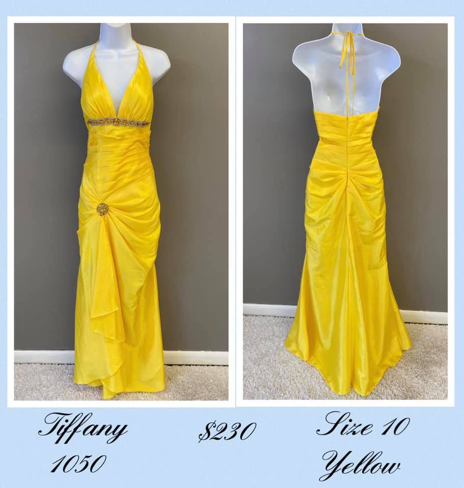 Queenly size 10 Tiffany Designs Yellow A-line evening gown/formal dress