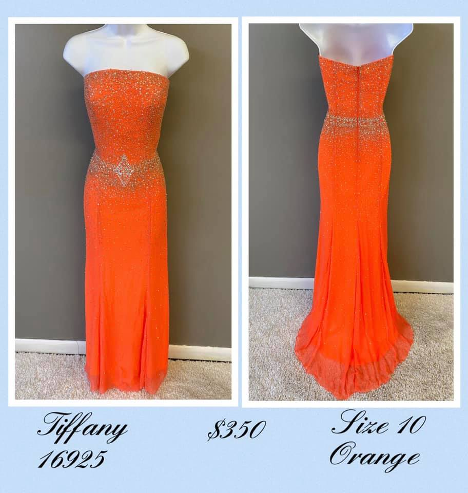 Queenly size 10 Tiffany Designs Orange A-line evening gown/formal dress