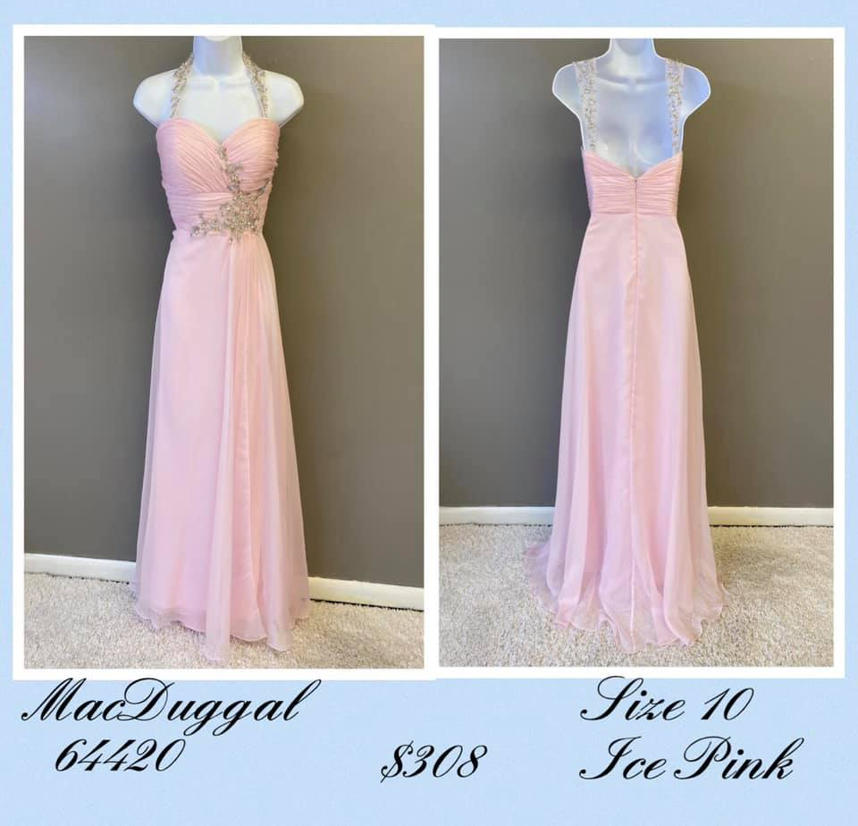 Queenly size 10 Mac Duggal Pink A-line evening gown/formal dress