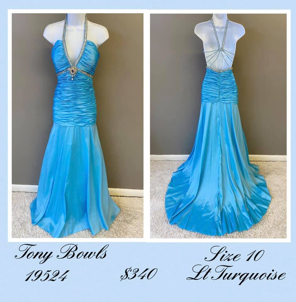 Queenly size 10 Tony Bowls Blue A-line evening gown/formal dress
