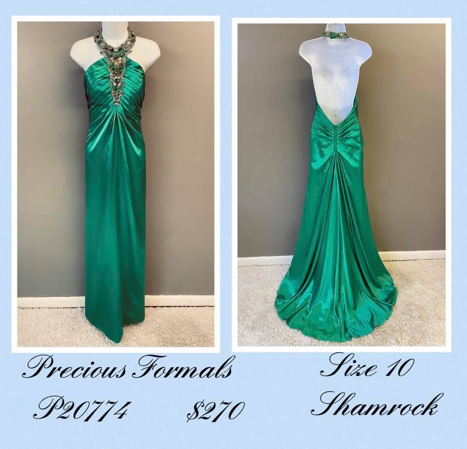 Queenly size 10 Precious Formals Green A-line evening gown/formal dress