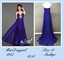 Queenly size 10 Mac Duggal Blue A-line evening gown/formal dress